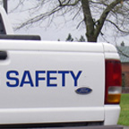 back of campus safety truck on puyallup campus